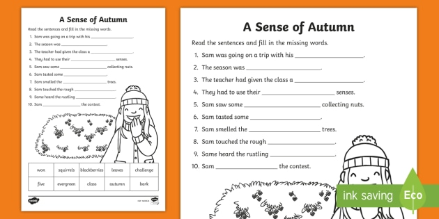 A Sense Of Autumn Fill In The Blanks Worksheet Activity Sheet