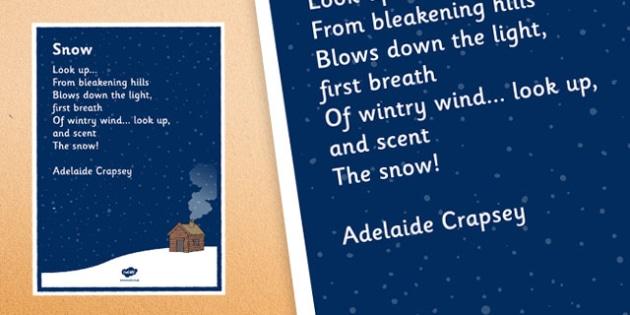 Snow by Adelaide Crapsey Cinquain Poem Poster - snow, adelaide crapsey, cinquain, poem, poster