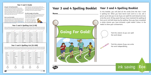 Going for Gold! Year 3 and 4 Spelling Booklet Checklist