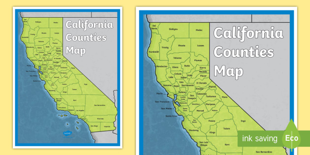 California Counties Map Poster - history, Native Americans ...