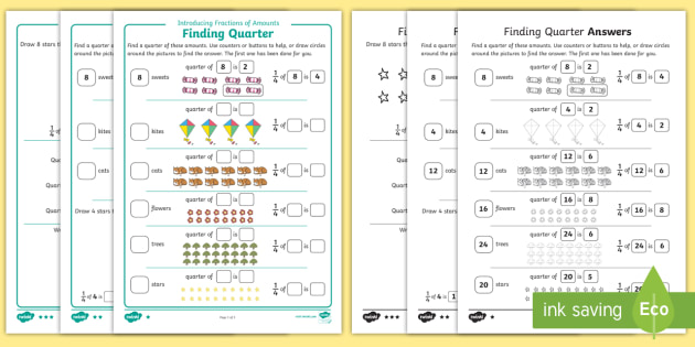 introducing fractions of amounts  finding one quarter differentiated introducing fractions of amounts  finding one quarter differentiated  worksheet  worksheet  maths year
