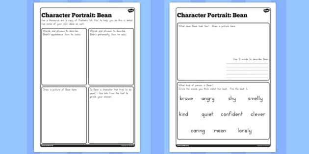 Character profile bean worksheet to support teaching on character profile bean worksheet to support teaching on fantastic mr fox australia pronofoot35fo Gallery