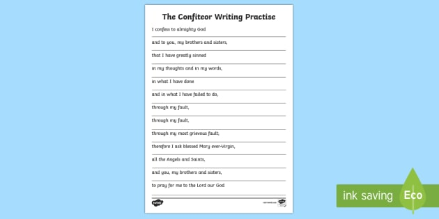 The Confiteor Writing Practise Activity - CfE Catholic Christianity, prayers, mass responses, The Confiteor,Scottish