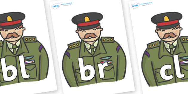 Initial Letter Blends on Generals - Initial Letters, initial letter, letter blend, letter blends, consonant, consonants, digraph, trigraph, literacy, alphabet, letters, foundation stage literacy