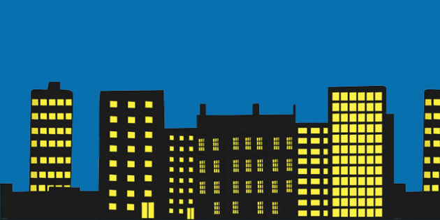 Large Cut-Out Building Silhouettes - large, building, silhouettes, dark
