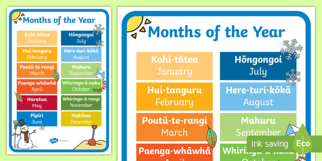months of the year poster pdf
