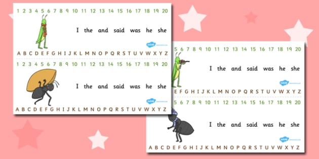 The Ant and the Grasshopper Combined Number and Alphabet Strips