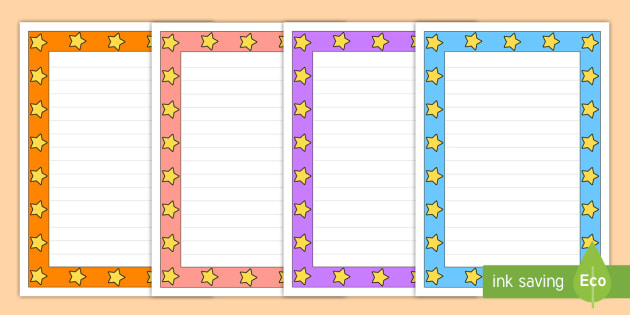 colorful page borders. Mixed Colors Star Page Border Pack  page borders colored pages stars