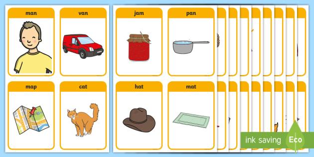 CVC Flashcards PDF | 3 Letter Word Flashcards | Printable