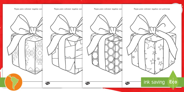 Hojas de colorear: Regalos con patrones - regalos con patrones