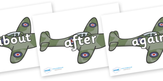KS1 Keywords on Planes - KS1, CLL, Communication language and literacy, Display, Key words, high frequency words, foundation stage literacy, DfES Letters and Sounds, Letters and Sounds, spelling