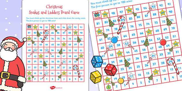 Snakes and Ladders Christmas Board Game - snakes, ladders, board