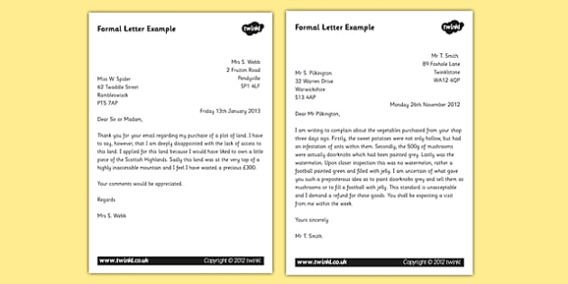 Letter Examples  Ks Formal Writing Example Texts