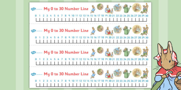 The Tale of Peter Rabbit Number Lines 0-30 - number lines, 0-30