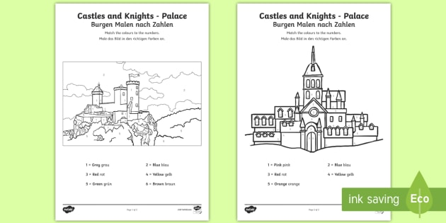 castles and knights colour by number englishgerman eal german castles and - Castles Pictures To Colour