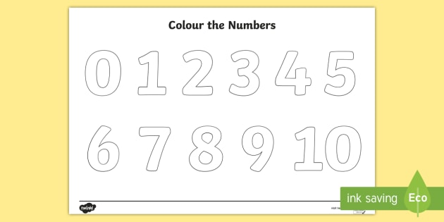 Colour the Numbers 0 to 10 Colouring Page - Big, numbers, colouring, sheet, colering, colourng, couloring, activity, sheet, numerals, 1, 10