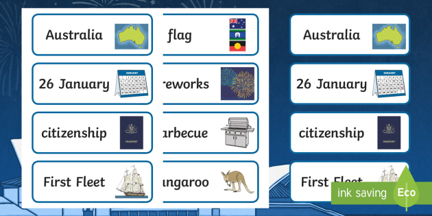 Australia Day Word Cards - australia, day, word cards, cards