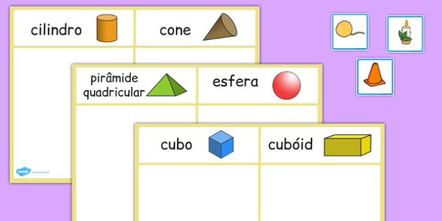 3D Shape Sorting Activity Portuguese - portuguese, 3d shape, sorting, activity