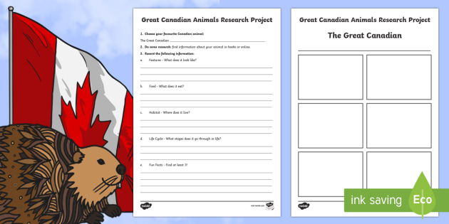 Great Canadian Animals Research Project Activity - Great Canadian Animals, research, project, template, outline, guiding questions, Canada, Canadian, a