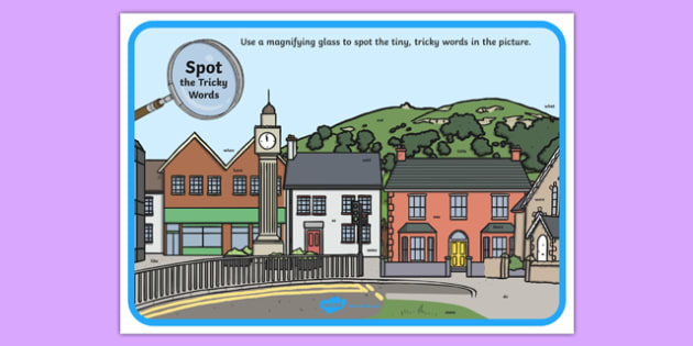 Phase 4 Tricky Words Town Scene Magnifying Glass Activity Sheet, worksheet