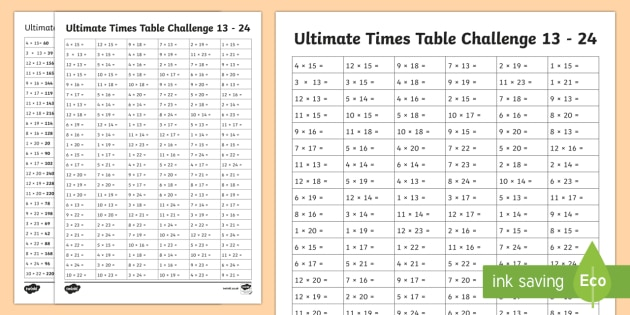 Ultimate times tables challenge 13 24 worksheet activity for 13 times table test