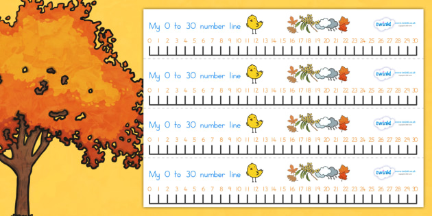 Autumn Number Line 0 30 - count, counting, counting aid, seasons