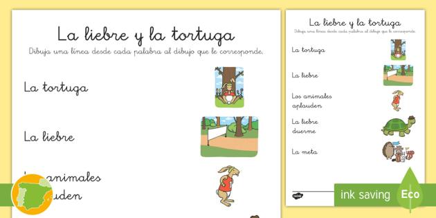 Ficha de emparejar palabra con dibujo: La liebre y la tortuga