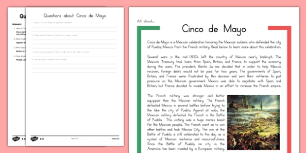 Cinco de Mayo Reading Comprehension Passage and Questions - usa, america, cinco de mayo, comprehension passage, questions