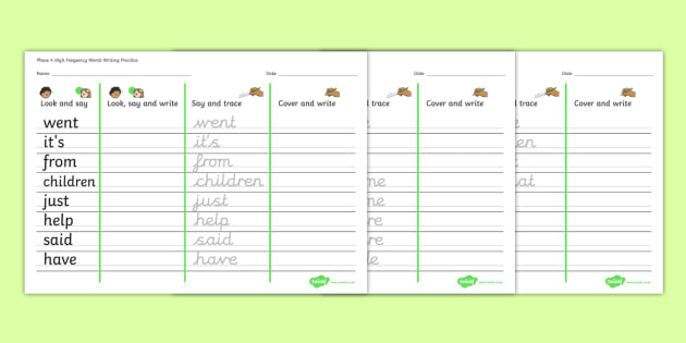 Phase 4 High Frequency Words Writing Practice Worksheets - phase