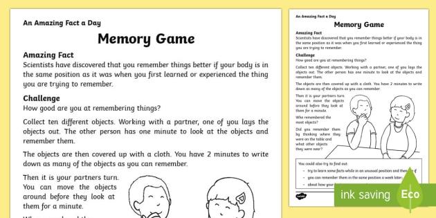 Memory Game Worksheet / Activity Sheet