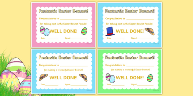easter bonnets templates - easter bonnet reward certificates easter bonnet award