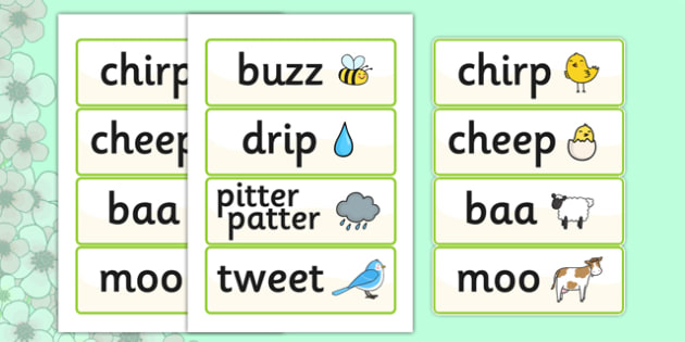 Onomatopoeia Primary Resources Aids Words