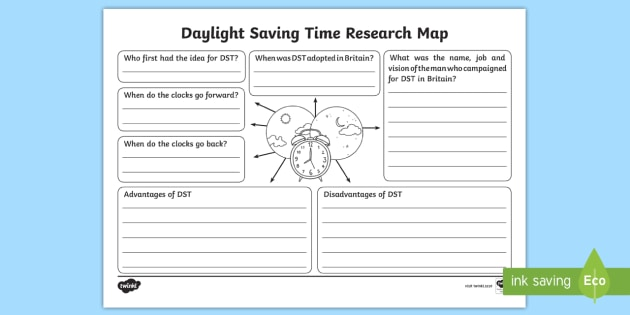 new daylight saving time research map activity sheet dst british. Black Bedroom Furniture Sets. Home Design Ideas
