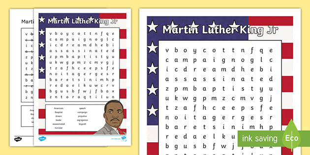 FREE! - Martin Luther King Jr Word Search (teacher Made)