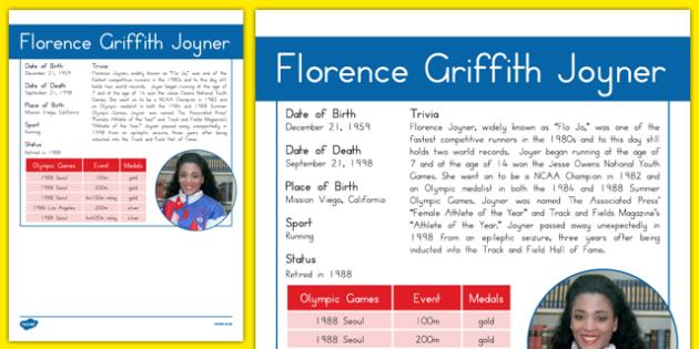 USA Olympians Florence Griffith Joyner Fact File