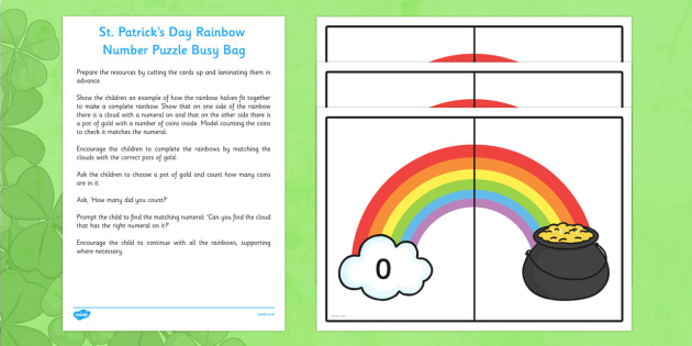 St Patrick's Day Rainbow Number Puzzle Busy Bag Resource Pack for Parents - St Patricks Day