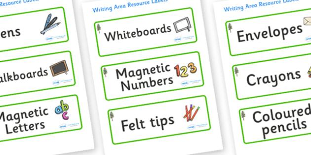 Pine Tree Themed Editable Writing Area Resource Labels - Themed writing resource labels, literacy area labels, writing area resources, Label template, Resource Label, Name Labels, Editable Labels, Drawer Labels, KS1 Labels, Foundation Labels, Foundat