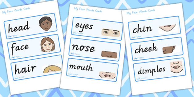 My Face Word Cards - face, ourselves, feelings, visual aid