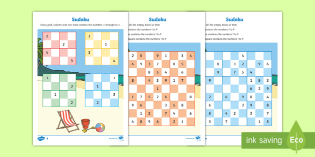 Seaside Sudoku x3 - seaside, sudoku, games, activities, numbers, puzzles, number games, games with numbers, seadside games, sudoku games, thinking games
