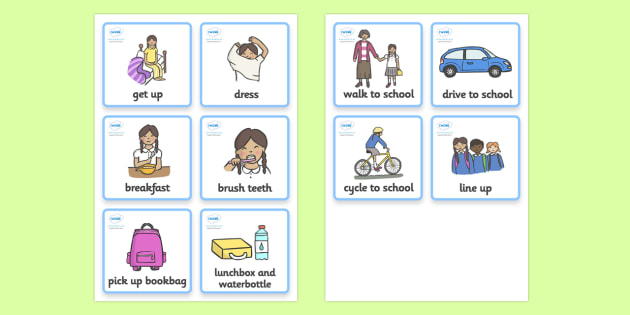 Visual Timetable (Getting Ready For School - Girls) - getting ready for school, educationl, child development, children activities, free, kids, special needs, special education, speech and language