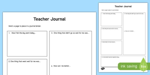 Teacher Journal Worksheet / Activity Sheet, worksheet