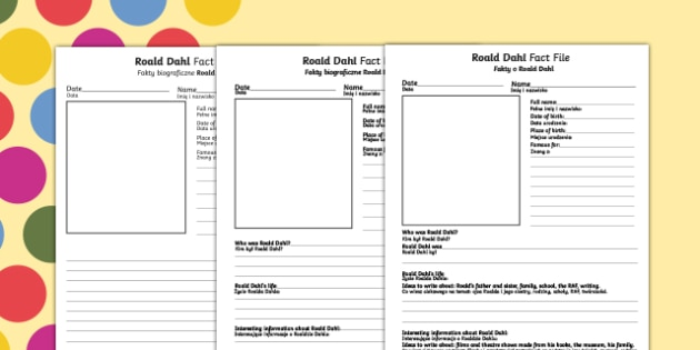 Roald Dahl differentiated fact file worksheet / activity sheets English/Polish