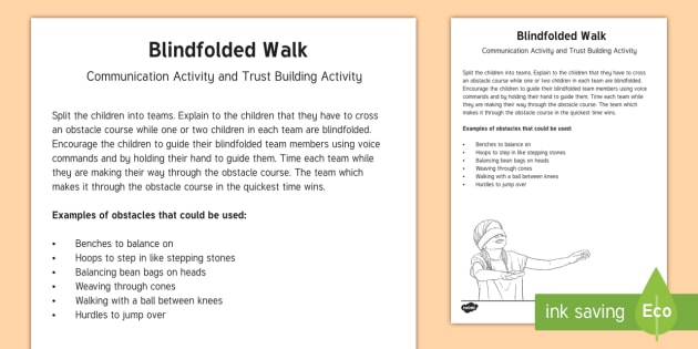 Blindfolded Walk Team Building Game Gym Pe Trust Activity Team
