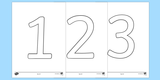 Number Outline (0-9) Colouring Pages