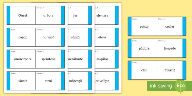 """Cuvinte cu acelasi sens - Cartonașe-pentru-jocul-""""Eu-am...""""/""""Cine-are...?""""   - joc, jocuri, sinonime, cuvinte cu același sens, vocabular, idei, joc și mișcare, activitate, mate"""