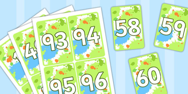 Coloured Number Digit Cards (0-100) - Numeracy, digit card, math, number recognition, counting