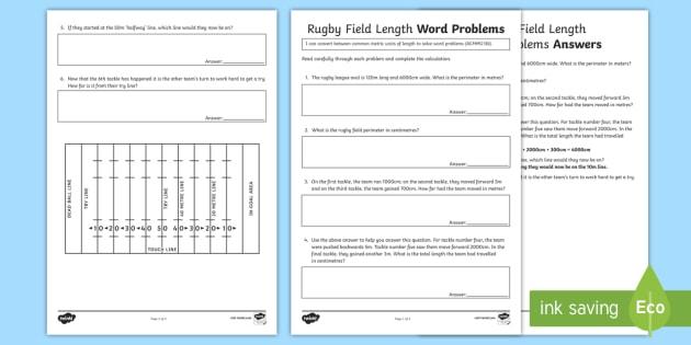 rugby field length word problems worksheet worksheet australian sporting. Black Bedroom Furniture Sets. Home Design Ideas