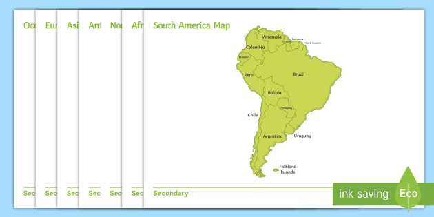 South America Map No Names.Continent Maps Display Posters English Display Maps Continents