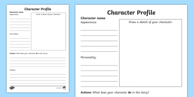 Creating a character worksheet ks1