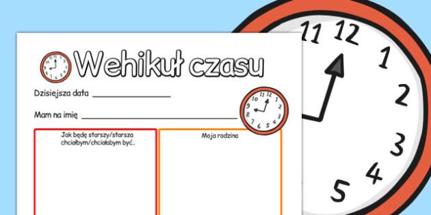 Cwiczenie na pisanie Wehikul czasu po polsku - po pobrania , Polish